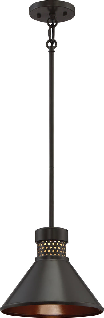 "Nuvo Doral 1-Light 12w 8"" Small Pendant w/ Copper Accent in Dark Bronze Finish"