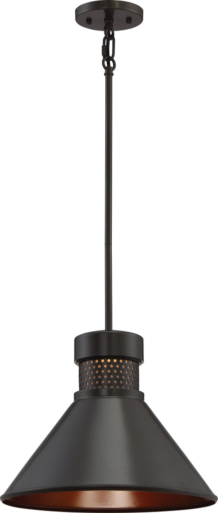 "Nuvo Doral 1-Light 15w 11"" Large Pendant w/ Copper Accent in Dark Bronze Finish"