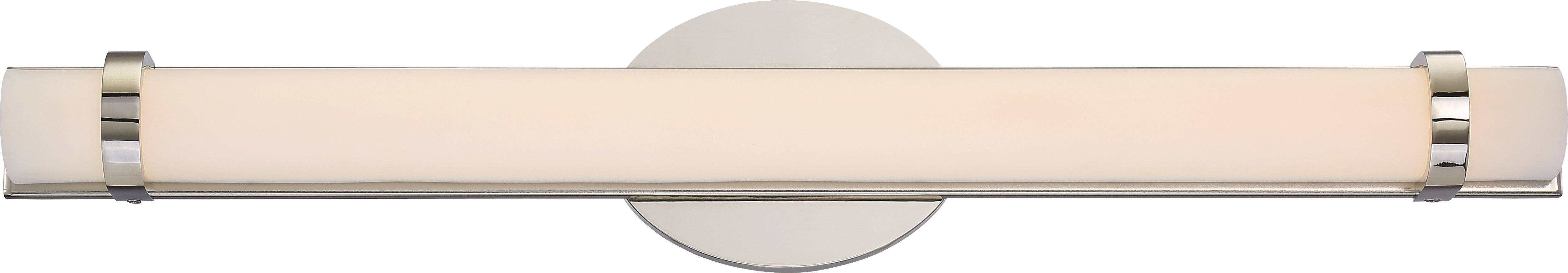"""Nuvo Slice 1-Light 24"""" LED Double Wall Vanity Sconce in Polished Nickel Finish"""