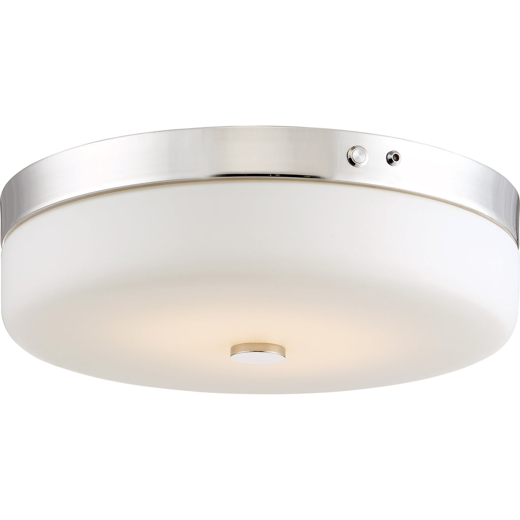 Nuvo LED EMR Battery Backup Flush Mount w/ Frosted Glass inPolished Nickel