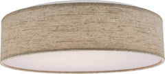 1-Light Flush Mounted Close-to-Ceiling Light Fixture in Beige Fabric Finish3000K