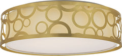 "Nuvo Filigree 15"" LED Decor Flush Mount w/ Fabric Shade in Natural Brass Finish"