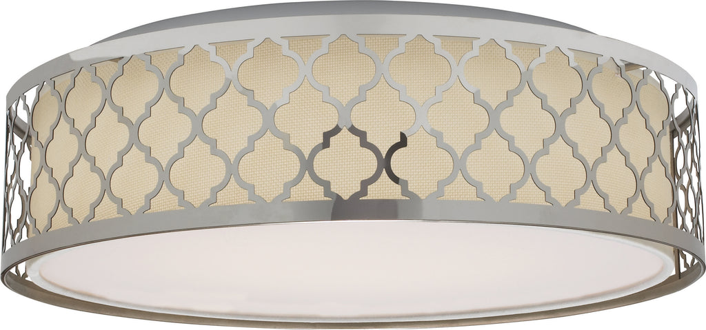 Nuvo Filigree 1-Light LED Decor Flush Mount w/ Fabric Shade in Polished Nickel