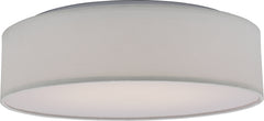 1-Light Flush Mounted Close-to-Ceiling Light Fixture in White Fabric Finish3000K