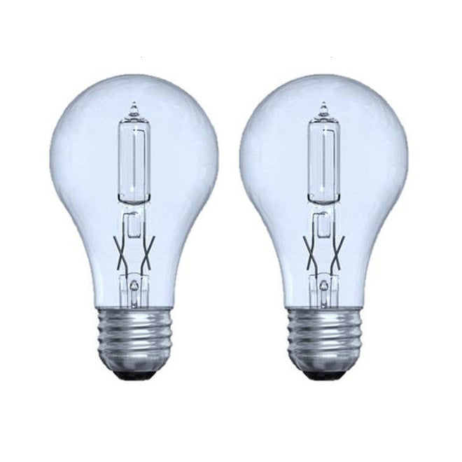 2PK - GE 62617 53W A19 E26 120V Halogen Clear Reveal 2950K bulb - 75w equiv.