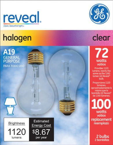 Ge 72w 120v A19 Clear Reveal Halogen Light Bulb x 2 pack