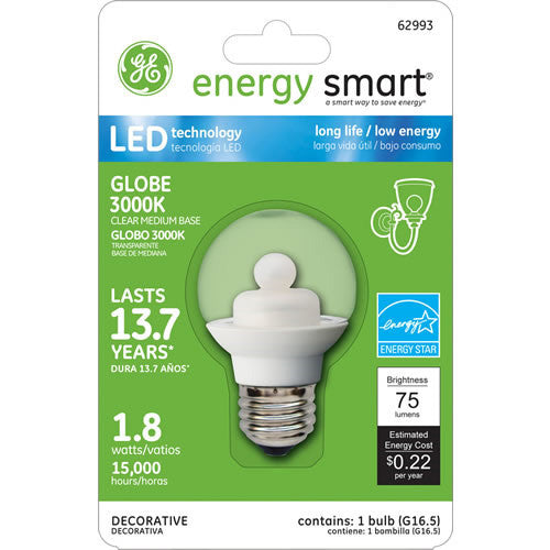 Ge 62993 1 8w Led G16 5 Globe E26 120v Clear Energy Smart