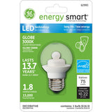 GE 62993 1.8W LED G16.5 Globe E26 120V Clear Energy Smart 3000K Light Bulb - BulbAmerica