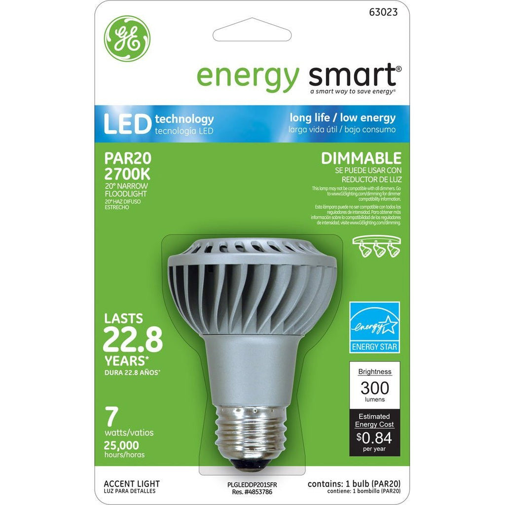GE 7W 120V E26 PAR20 2700k NFL20 Energy Smart LED Light Bulb
