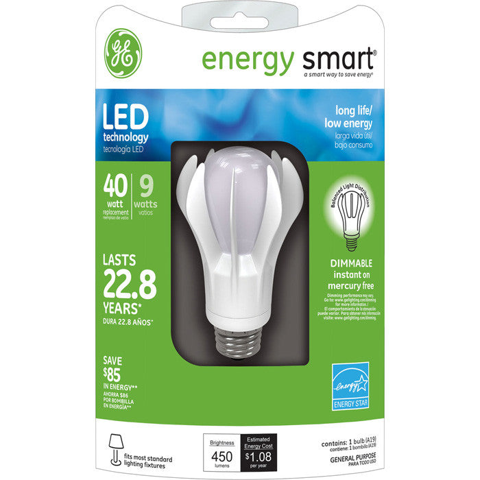 GE 64128 LED 9w A19 Dimmable White 3000K bulb - 40w incand. equiv.