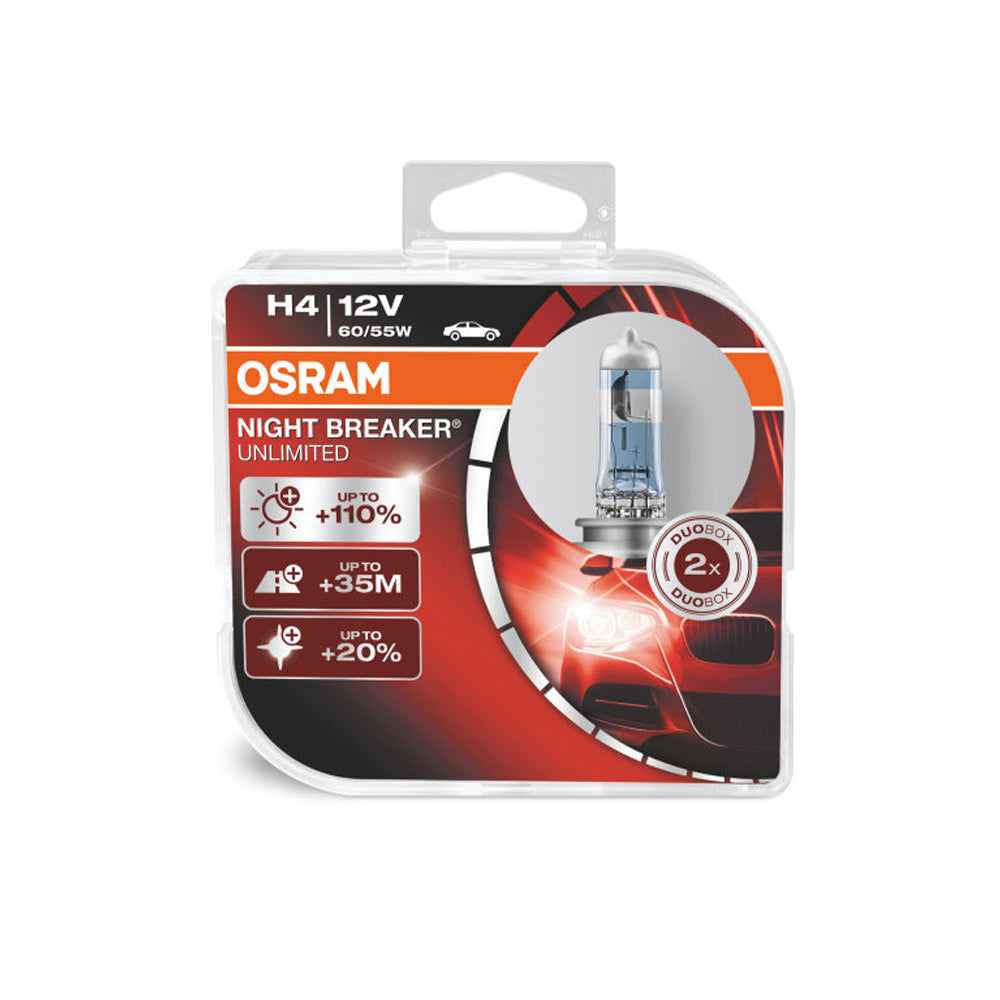 2-PK Osram H4 9003 - 64193NBU Night Breaker Unlimited Automotive Bulb