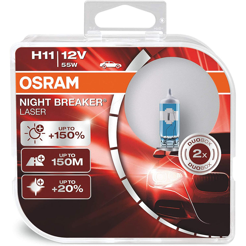 2-PK Osram H11 64211NL Night Breaker Laser 55w 12v Automotive Bulb