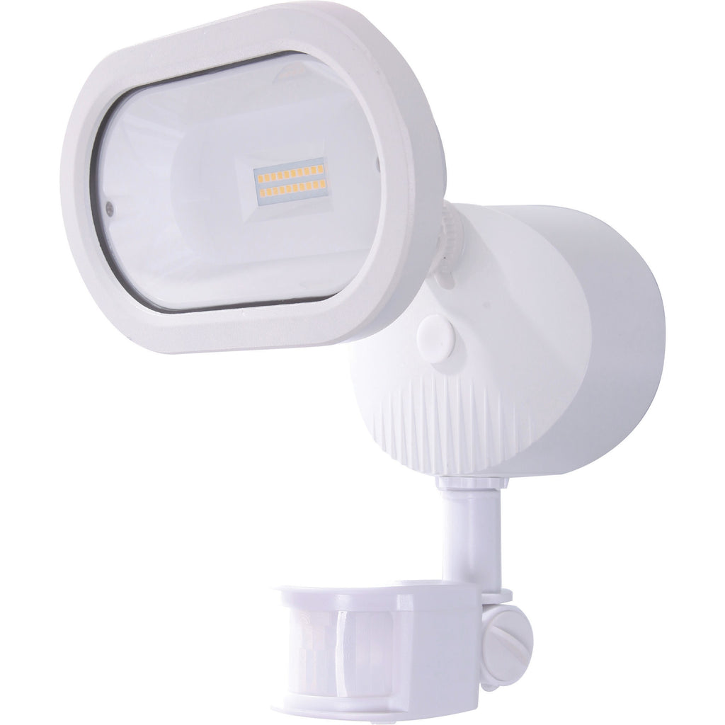 LED Single Head Security Light Motion Sensor Included 3000K White Finish