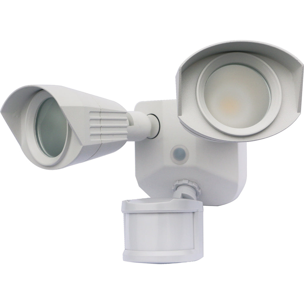 Nuvo LED Security Light w/ Dual Head & Motion Sensor in White Finish 3000k