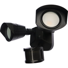 Nuvo LED Security Light w/ Dual Head Light & Motion Sensor in Black Finish 3000k