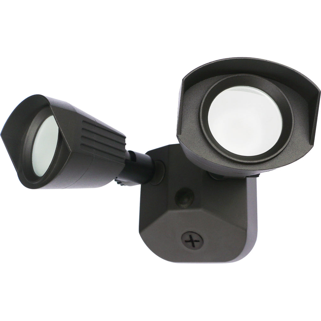 Nuvo LED Security Light w/ Dual Head Light in Bronze Finish 4000k