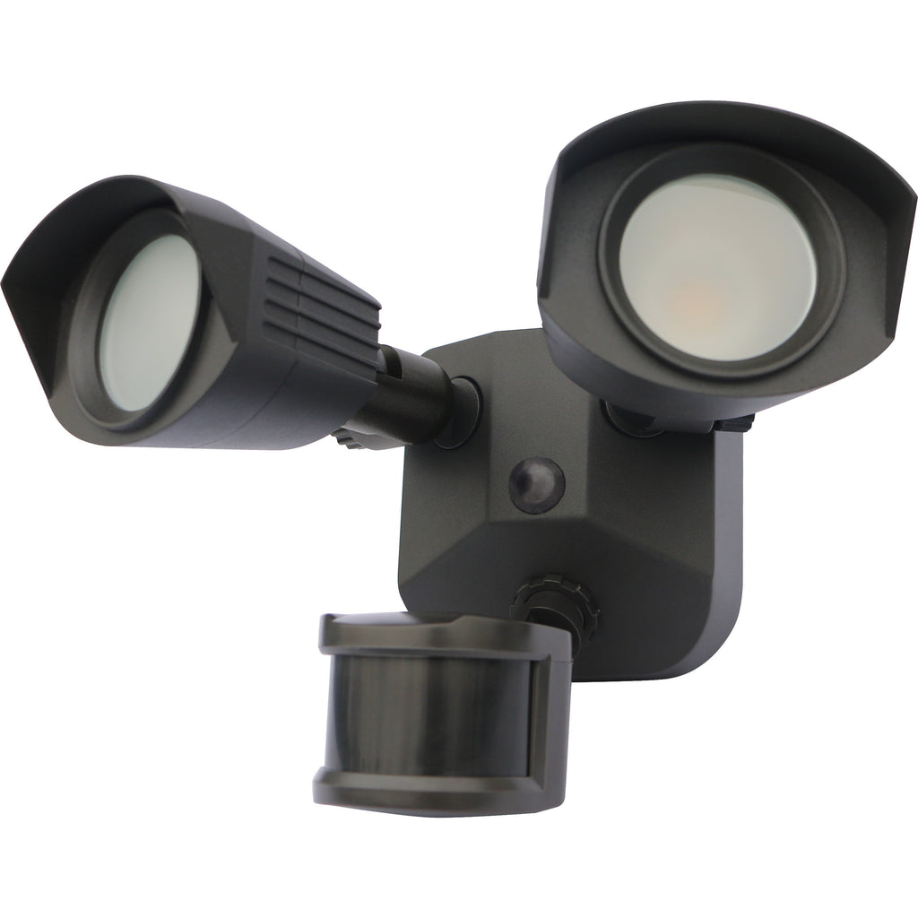 Nuvo LED Security Light w/ Dual Head & Motion Sensor in Bronze Finish 4000k
