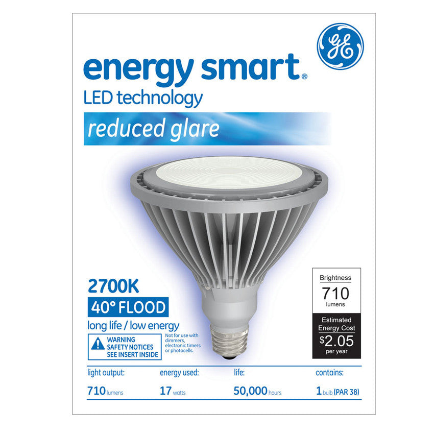GE 65423 17w PAR38 LED 2700k E26 Silver Flood FL40 120V Indoor Floodlight Bulb