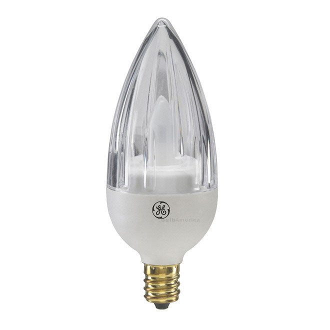 GE 2.4w Clear Fluted LED Bulb Soft White 100Lm Candelabra Flame lamp