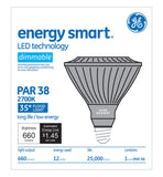 GE 66116 12w PAR38 LED Silver Dimmable Flood FL35 E26 2700K Warm White 120V bulb - BulbAmerica