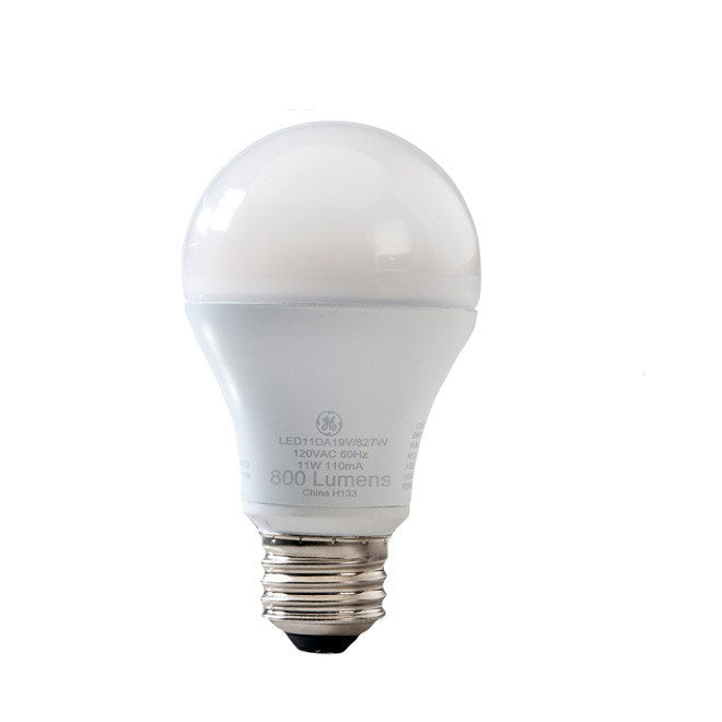 GE 11w 120v A-Shape A19 E26 White 2700k Dimmable LED Light Bulb