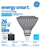 GE 26w PAR38 LED Bulb Dimmable Flood 1500Lm Warm White lamp - BulbAmerica