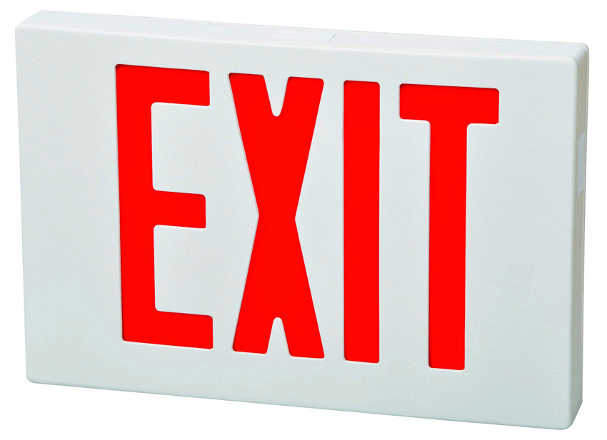 LED Exit Sign Red LED White Housing Battery Backup Remote Capable