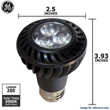 GE 7w PAR20 LED Bulb Warm White Narrow Flood 200Lm Black lamp - BulbAmerica