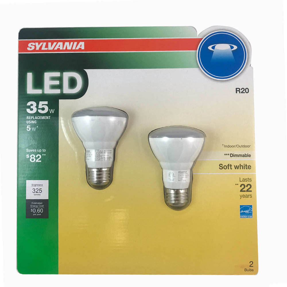 2PK - SYLVANIA 5w R20 LED Dimmable Soft White Bulb - 35w equiv.