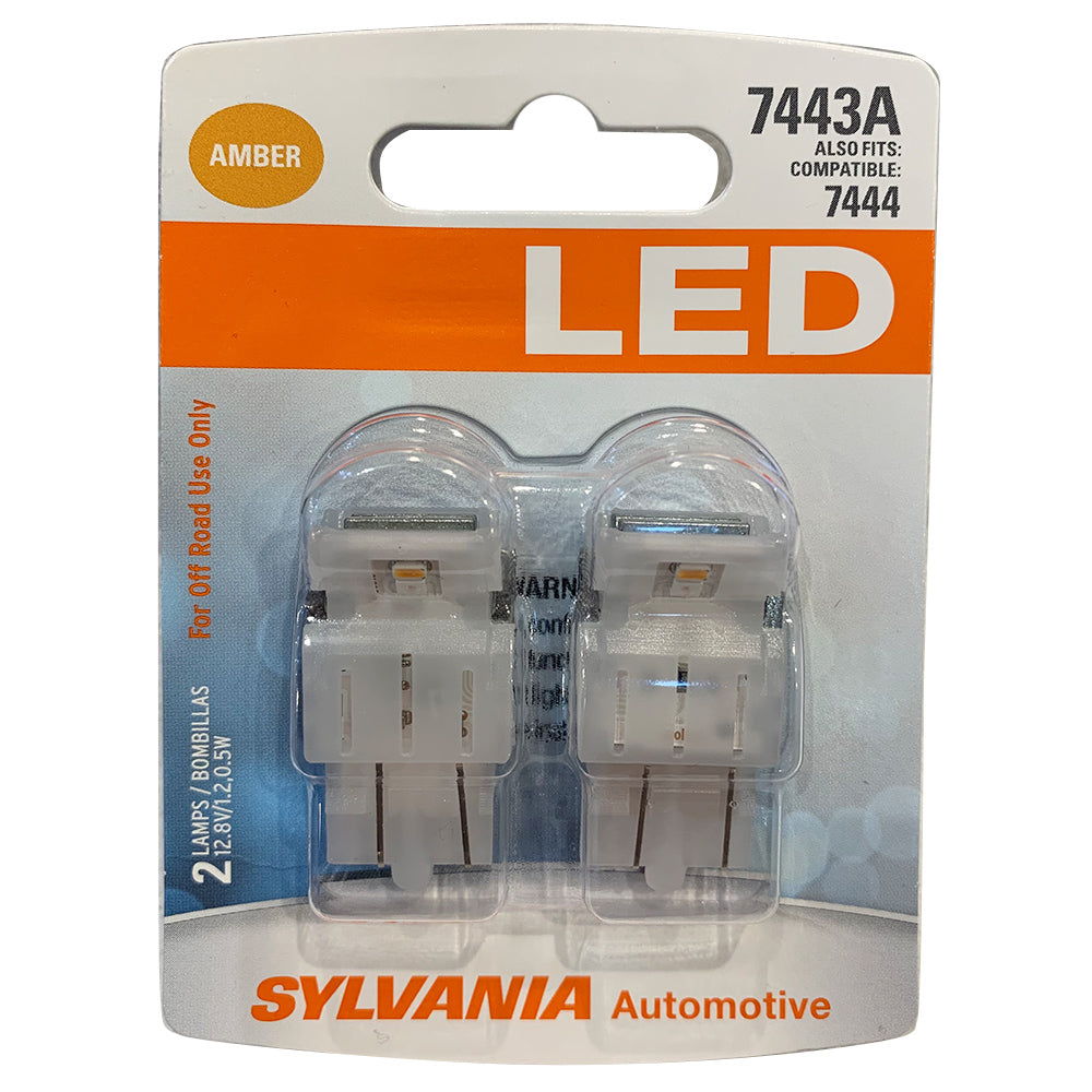2-PK SYLVANIA 7443A T20 Amber LED Automotive Bulb