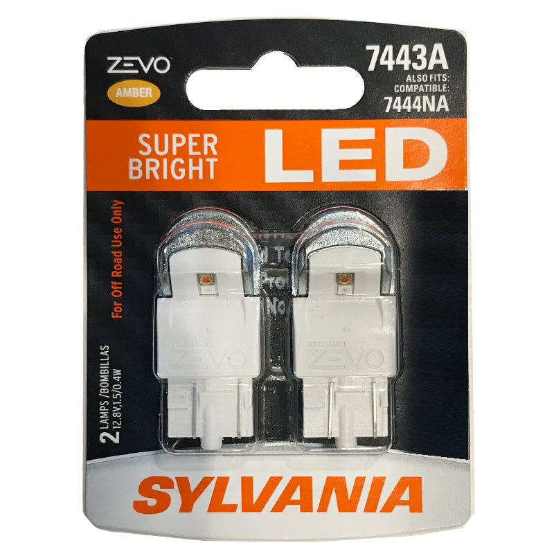 2-PK SYLVANIA ZEVO 7443 T20 Amber LED Automotive Bulb