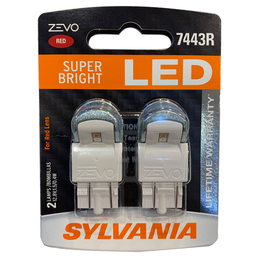 2-PK SYLVANIA ZEVO 7443R T20 Red LED Automotive Bulb