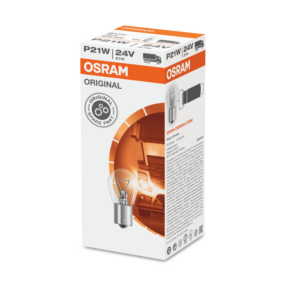 10-PK Osram 7511 24V P21W Automotive Bulb - Engineered for Trucks and Buses