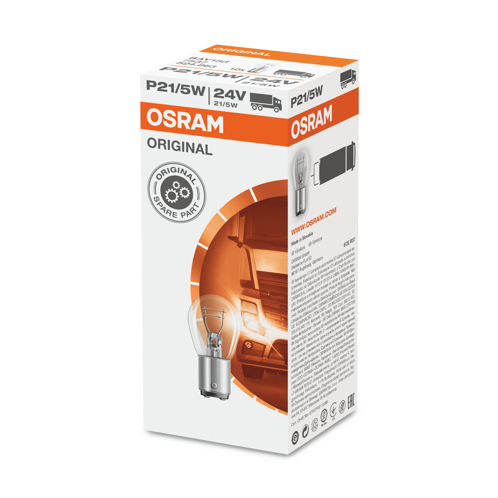 10-PK Osram 7537 P21/5W 24V Automotive Bulb Engineered for Trucks and Buses