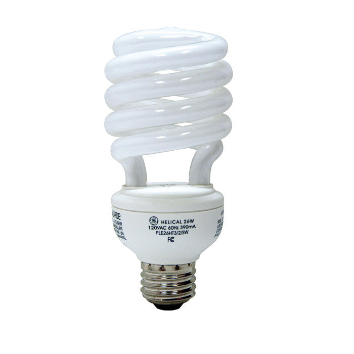 GE 75408 26W T3 G25 E26 2500K Reveal Spiral Compact Fluorescent Bulb 100w equiv.