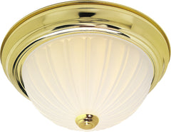 "Nuvo 2-Light 11"" Flush Mount w/ Frosted Melon Glass in Polished Brass Finish"