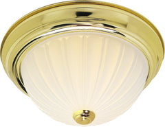 "Nuvo 2-Light 13"" Flush Mount w/ Frosted Melon Glass in Polished Brass Finish"