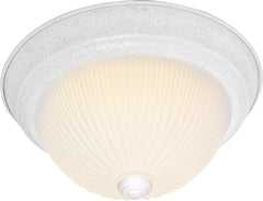 "Nuvo 2-Light 11"" Flush Mount w/ Frosted Ribbed in Textured White Finish"