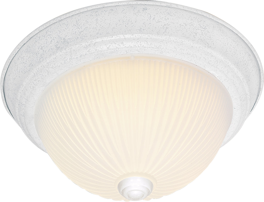 "Nuvo 3-Light 15"" Flush Mount w/ Frosted Ribbed Glass in Textured White Finish"