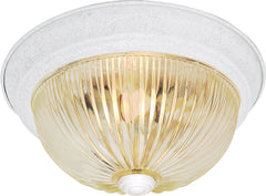 "Nuvo 2-Light 13"" Flush Mount w/ Clear Ribbed Glass in Textured White Finish"