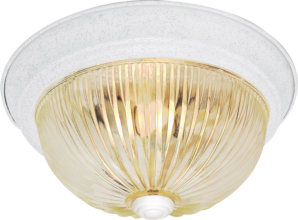 "Nuvo 3-Light 15"" Flush Mount w/ Clear Ribbed Glass in Textured White Finish"