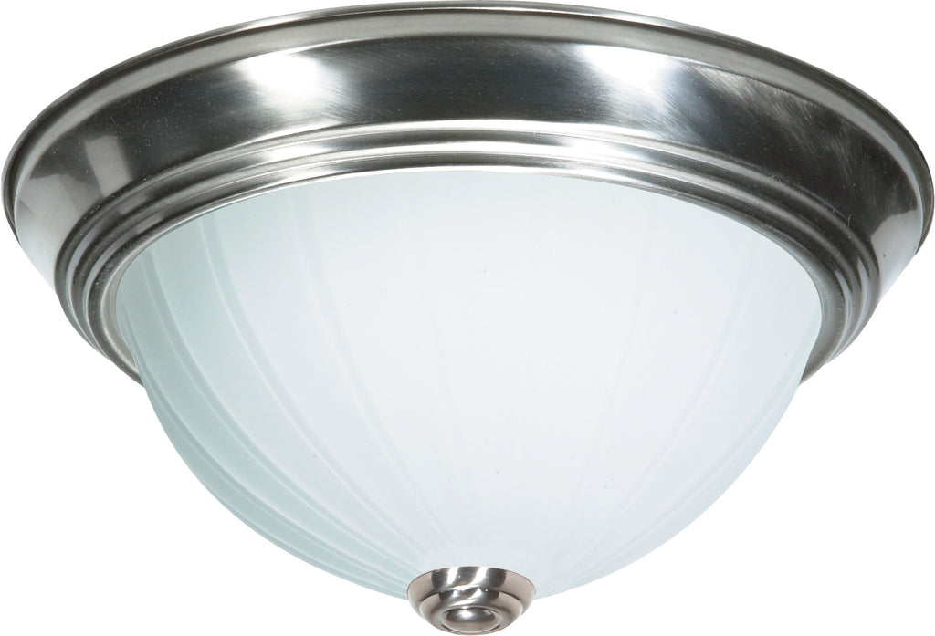 "2 Light - 11"" - Flush Mount - Frosted Melon Glass"