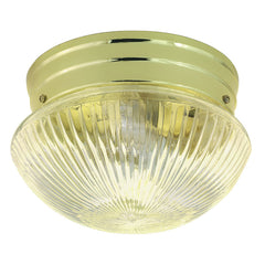 "Nuvo 2-Light 10"" Flush Mount w/ Clear Ribbed Mushroom in Polished Brass Finish"