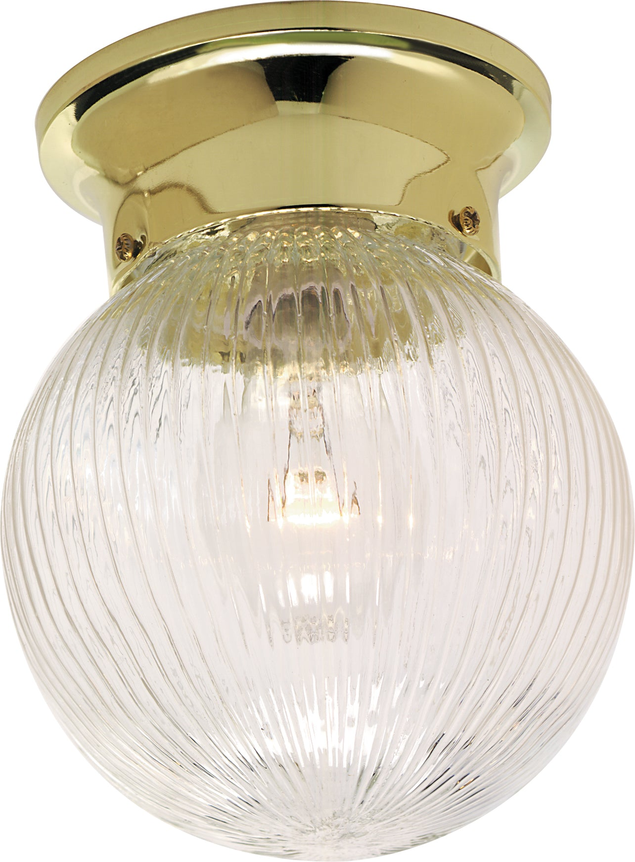 "1-Light 6"" Flush Mounted Close-to-Ceiling Light Fixture in Polished Brass Finish"