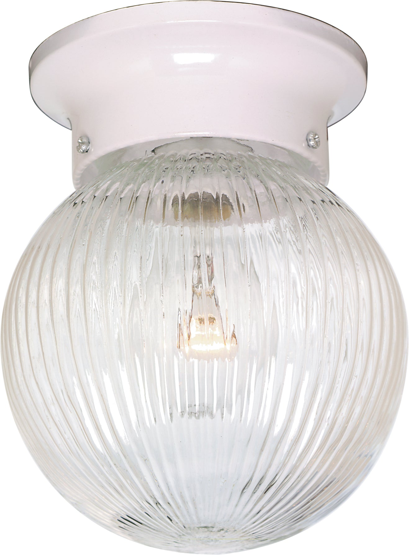 """1-Light 6"""" Flush Mounted Close-to-Ceiling Light Fixture in White Finish"""