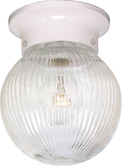 "1 Light - 6"" - Ceiling Fixture - Clear Ribbed Ball"