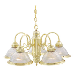"5-Light 22"" Hanging Mounted Chandelier Light Fixture in Polished Brass Finish"