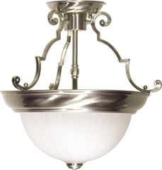 "2 Light - 13"" - Semi-Flush - Frosted Melon Glass"