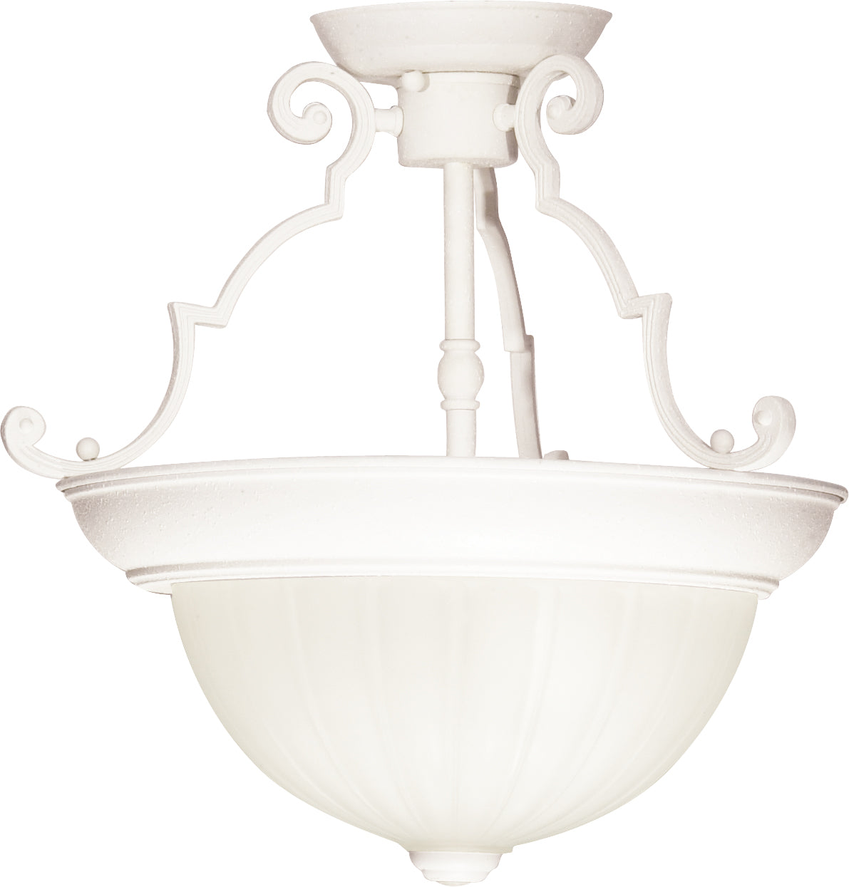 "2-Light 13"" Flush Mounted Light Fixture in Textured White Finish"