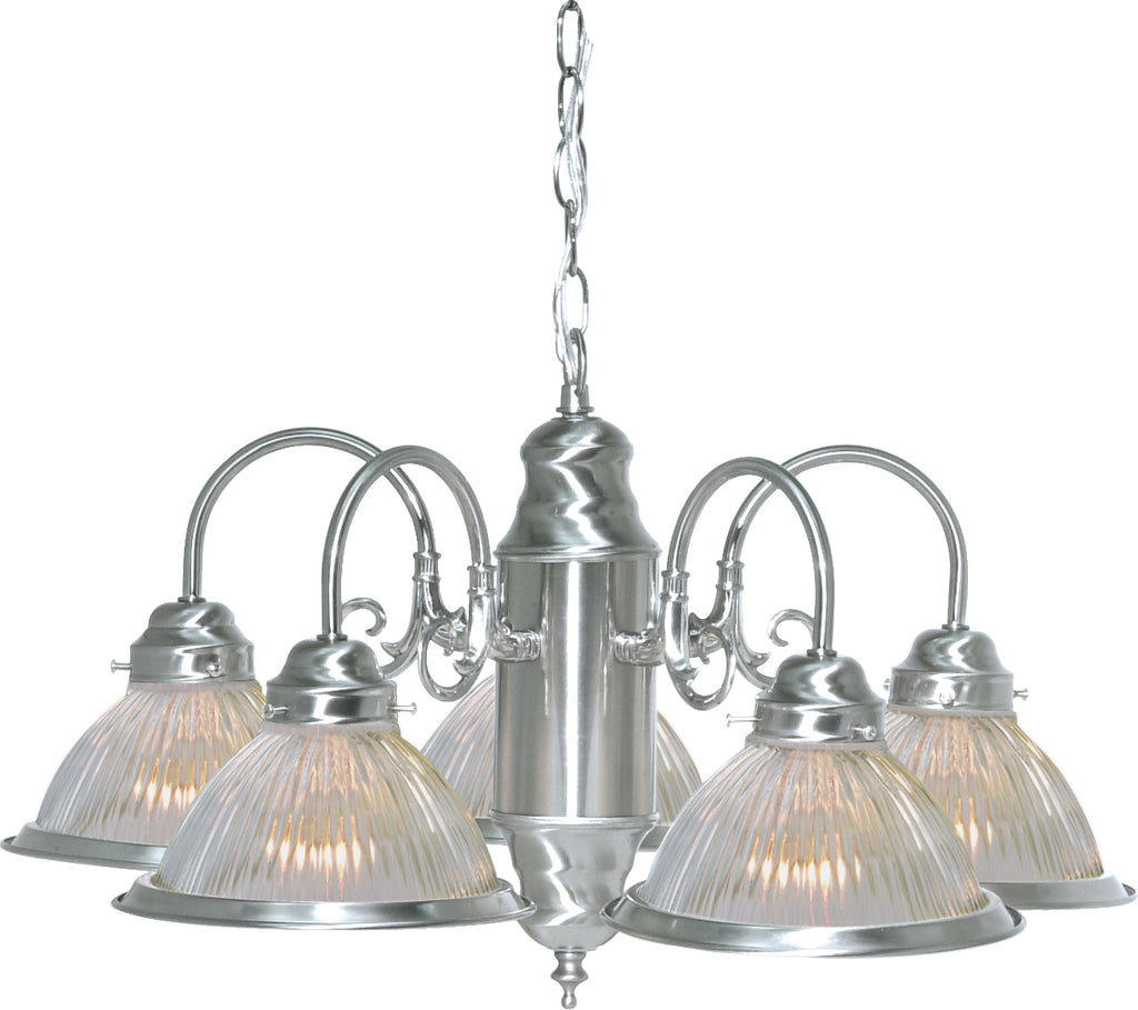 "Nuvo 5-Light 22"" Brushed Nickel 60w Chandelier w/ Clear Ribbed Shades"